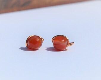 Carnelian Stud Earrings
