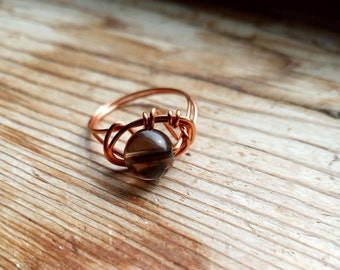 Smoky Quartz Wire Wrapped Ring