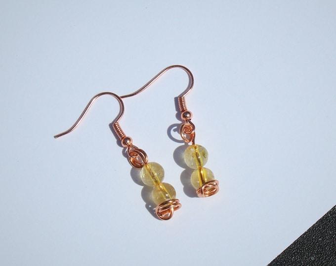 Citrine Fish Hook Earrings