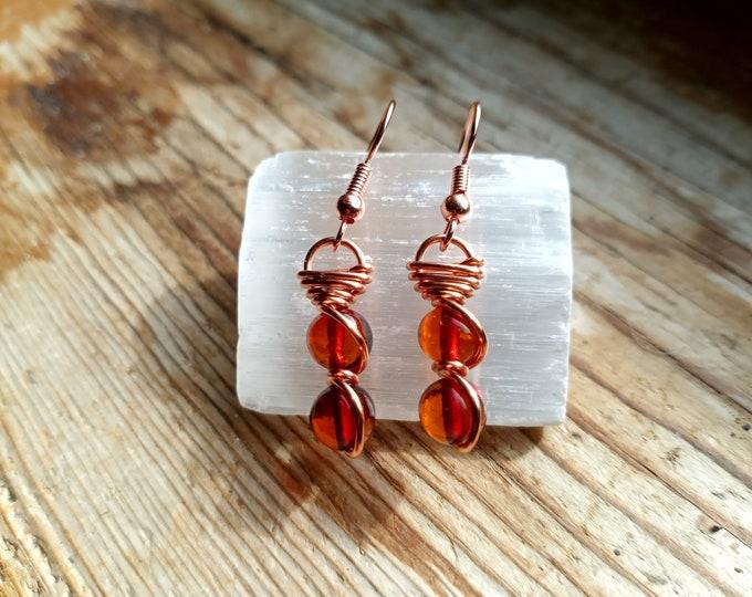 Baltic Amber Fish Hook Earrings