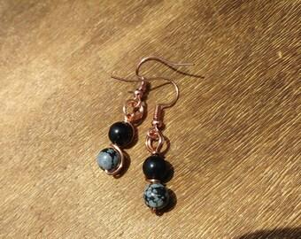 Snowflake Obsidian Fish Hook Earrings