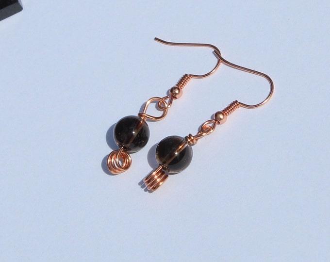 Smoky Quartz Fish Hook Earrings