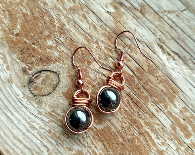 Hematite Fish Hook Earrings