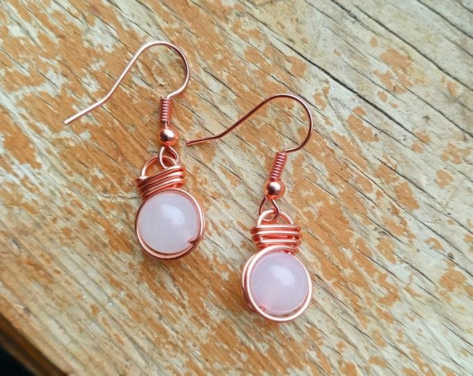 Rose Quartz Fish Hook Earrings