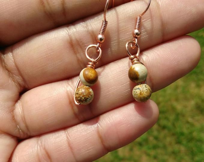Picture Jasper Fish Hook Earrings