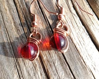Amethyst Earrings healing crystal earrings copper jewelry wire wrapped earrings Fish hook earrings wire wrapped jewelry