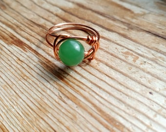 Green Aventurine Wire Wrapped Ring