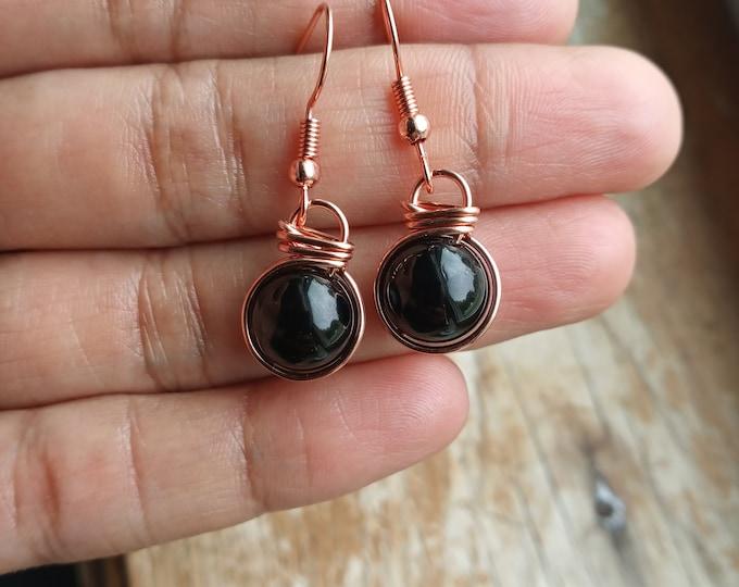 Black Tourmaline Fish Hook Earrings