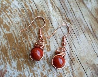 Red Jasper Fish Hook Earrings