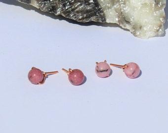Rhodonite Stud Earrings