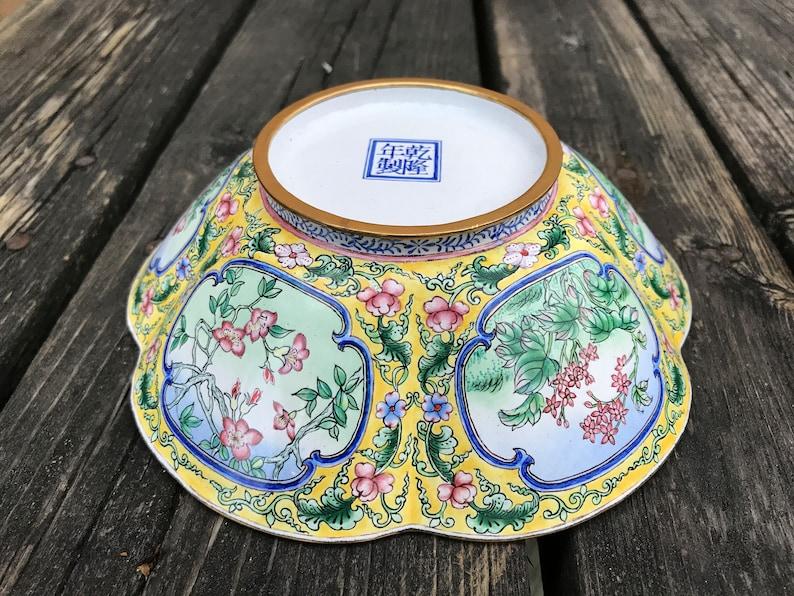 Floral Canton Enamel Bowls Pair of Lobed