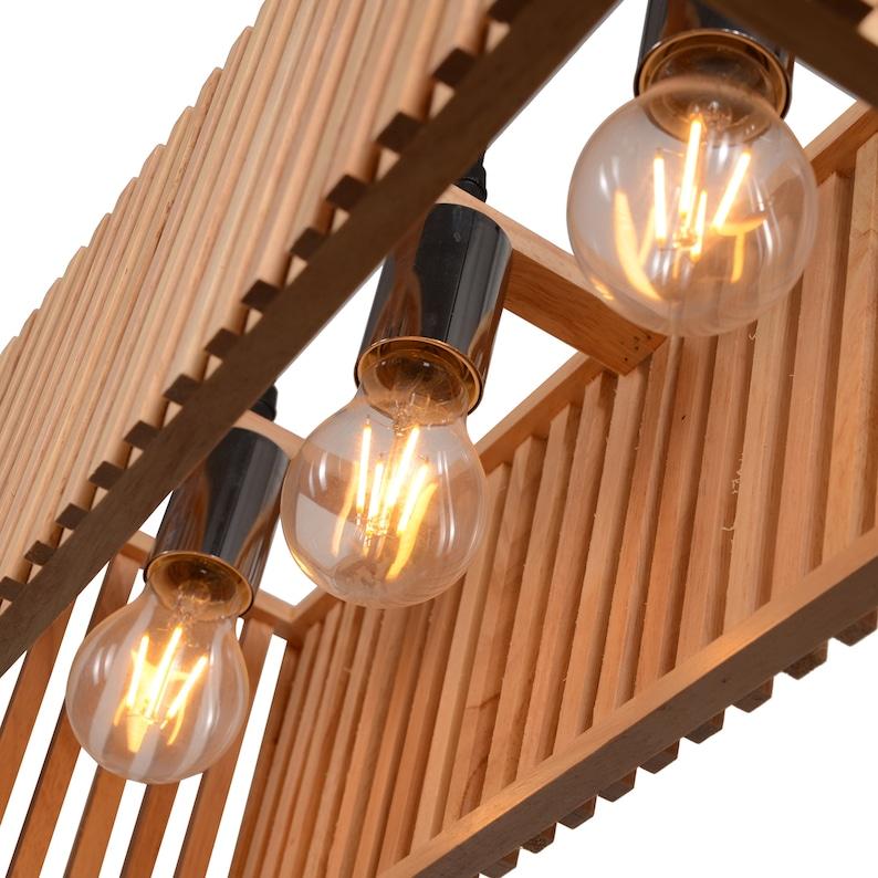 Japanese Rectangle Restaurant Ceiling Hanging Lights,Wooden Dinner Lamp Shade,Wood Light Pendant,House Warming Gift New Home