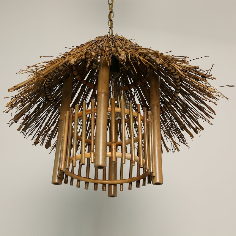Grass House Bamboo Chandelier,Wicker tower Pendant Light,Chinese Rattan Lamp Shade,Ceiling Hanging Light,Branch Shape Outdoor Chandelier
