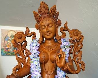 Green Tara Wooden Murti Photograph, Eldorado Mountain Yoga Ashram