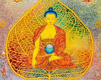 Bodhi Buddha by Karma Phuntsok, Shakyamuni Buddha, Thangka Art, Buddhist Art, Bodhi leaf Buddha, Buddhist art, Tibetan Art, Tibetan artist
