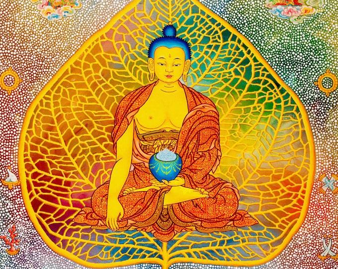 Featured listing image: Bodhi Buddha by Karma Phuntsok, Shakyamuni Buddha, Thangka Art, Buddhist Art, Bodhi leaf Buddha, Buddhist art, Tibetan Art, Tibetan artist