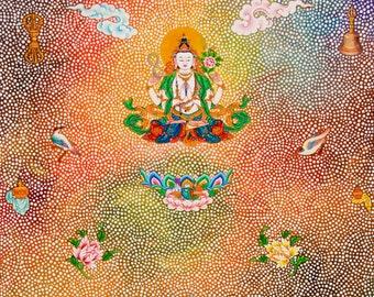Chenrezig with HH the Dalai Lama, by Karma Phuntsok, Chenrezig, Thangka Art, Buddhist Art, Buddhist art, Tibetan Art, Karma Avalokitshevara