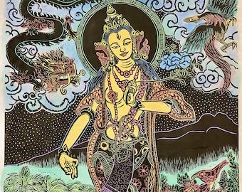 Tara with dragon, phoenix and i'ili birds, Golden Tara, White Tara, Buddhas, goddess, meditation, yoga arts, yoga, Hawaiian, Buddhist Art
