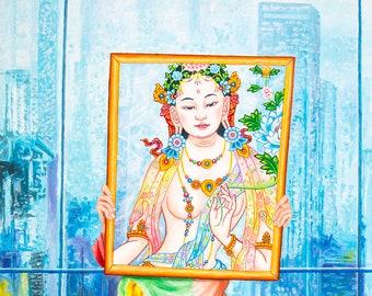 Girl in a Mirror by Karma Phuntsok, Goddess in a Contemporary setting, Morphing Tara, Contemporary Tibetan art, Thangka Art, Karma Art