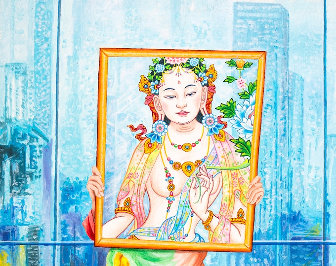 Featured listing image: Girl in a Mirror by Karma Phuntsok, Goddess in a Contemporary setting, Morphing Tara, Contemporary Tibetan art, Thangka Art, Karma Art