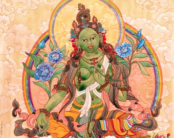 Green Tara with Clouds by Rosalie Kalidasi Thompson, Contemporary and Traditional Goddess Art