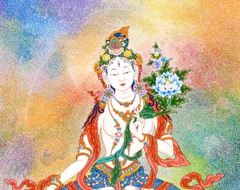 White Tara by Karma Phuntsok, Buddhist Art, Peace Compassion Joy Love to All Beings Painting