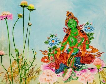Green Tara in Flower Garden by Karma Phuntsok, Original Painting, thankga art, Buddha Art, Tara goddess, Tibetan art, Karma Art,  Goddess