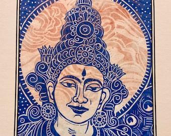 Devi, Saraswathi, Goddess of music and art, by Faith Stone, mokuhanga woodblock hand carved woodblock FaithStoneArt ContemporaryBuddhistArt
