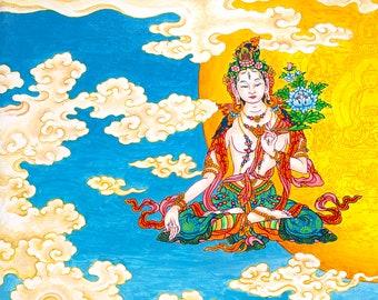 White Tara - Yellow Moon, by Karma Phuntsok, Tara, Thangka Art, Buddhist Art, White Tara Moon, Buddhist art Tibetan Art Tibetan artist Karma