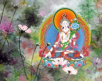 Flower Tara by Karma Phuntsok, Shakyamuni Buddha, Thangka Art, Buddhist Art, White Tara flowers, Buddhist art, Tibetan Art, Tibetan artist