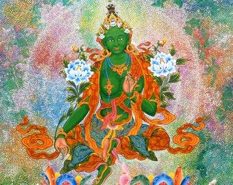 Green Tara by Karma Phuntsok, Thangka Art, Contemporary, Buddhist art, Tibetan Art, Karma