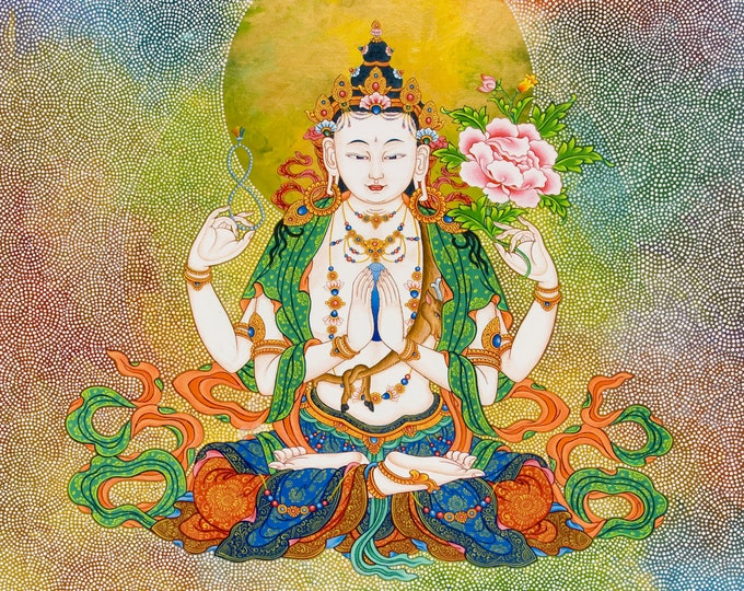Featured listing image: Compassion by Karma Phuntsok, Chenrezig Buddha of Compassion, Avalokitesvara, Tibetan Buddhist Thangka