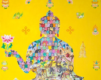 Sentient Beings by Karma Phuntsok, Buddhist Contemporary Tibetan art, Recycled Art, Sustainable Art, Meditation Art