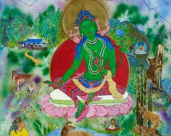 Green Tara, Meditation on Kindness at Shoshoni Yoga Retreat by Faith Stone, Colorado wildlife, Goddess of Compassion, Yoga