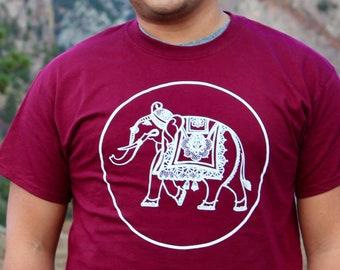 Indian elephant T-shirt, maroon T with white elephant, elephant in a circle, faithstoneart, silk screen T-shirt original art, wear art! yoga