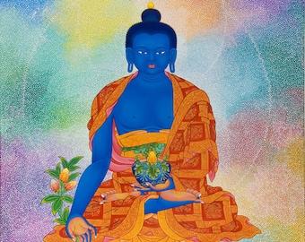 Medicine Buddha by Karma Phuntsok, Healing, Thangka Art, Contemporary, Buddhist art, Tibetan Art, Karma