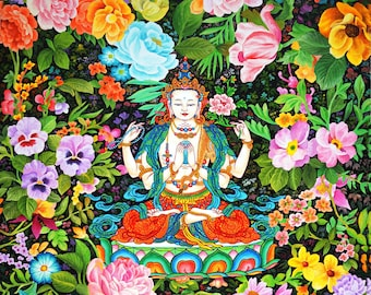 Chenrezig (Compassion Series #4) by Karma Phuntsok, Chenrezig Buddha of Compassion, Avalokitesvara, Tibetan Buddhist Thangka