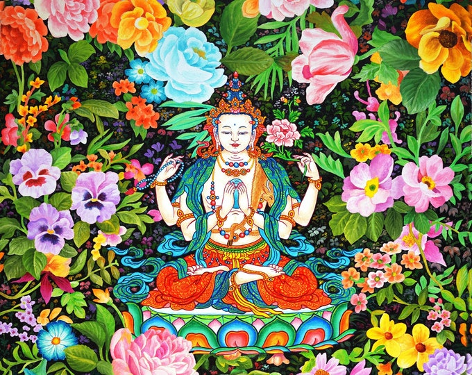 Featured listing image: Chenrezig (Compassion Series #4) by Karma Phuntsok, Chenrezig Buddha of Compassion, Avalokitesvara, Tibetan Buddhist Thangka