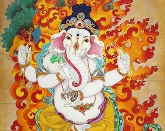 Dancing Ganesh by Rosalie Kalidasi Thompson, Ganesh with Cosmic Fire and Mushika, Meditation Painting, Ganapati