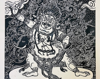 Vajrapani with conch shells, by Faith Stone Dharma protector, guardian, devours ghosts, FaithStoneArt,   AmericanBuddhistArt, thangka art