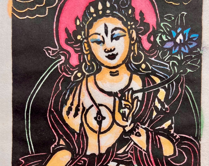 Featured listing image: Original Woodblock on paper, by Faith Stone: Tiny Tara is a woodblock of White Tara, Tara woodblock,small Tara woodblock mokuhanga woodblock