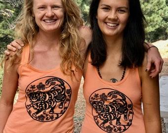 Happy tiger women's tank, orange tiger tank, happy tiger shirt, soft tiger tank, FaithStoneArt, American Buddhist Art, yoga and meditation