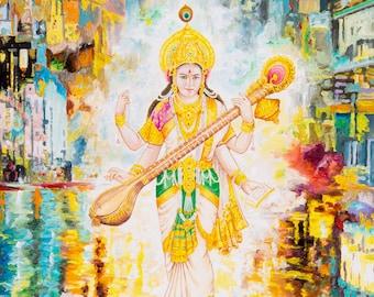 Saraswathi by Karma Phuntsok, Goddess in a Contemporary setting, Saraswati in city, Contemporary Hindu Art, Karma Art