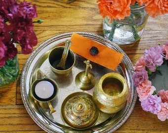 Puja Tray and Offerings, Ma Shrine, Meditation Photo, Shoshoni Yoga Retreat