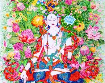 Waratah Tara, Karma Phuntsok, White Tara with flowers, Goddess of loving kindness, Giclee of original painting, thangka art, Buddhism, Karma