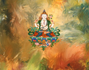 Chenrezig in Astral Space by Karma Phuntsok, Thangka Art, Contemporary Buddhist art, Tibetan Art