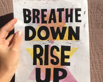 Breathe Down - Rise Up Woodblock Print, Protest Art, Printmakers As Resistance, Vote