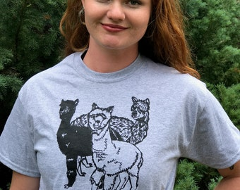 Aplaca T-shirt, 3 alpacas, alpacas, faithstoneart, silk screen T-shirt original art, wear art! yoga