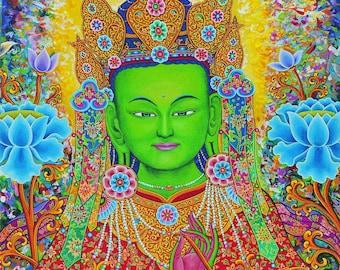 Green Goddess, Mother Tara by Karma Phuntsok, Thangka Art, Buddhist Art, Green Tara, Compassion Goddess, Buddhist art, Tibetan Art, Tibetan