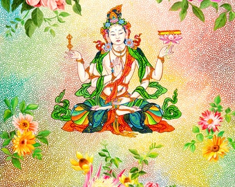 Prajnaparamita by Karma Phuntsok, Thangka Art, Contemporary, Buddhist art, Tibetan Art Painting